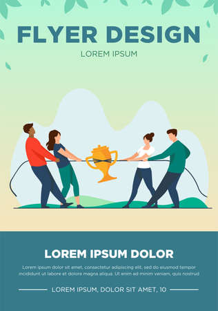 Teams competing for prize. People playing tug-of-war, pulling rope with golden cup flat vector illustration. Competition, contest concept for banner, website design or landing web page