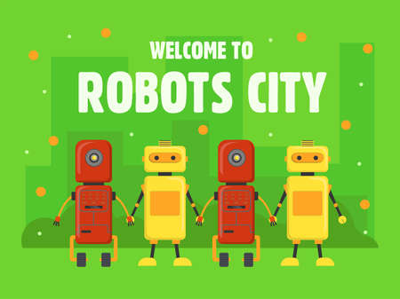 Robots city cover design. Humanoids, cyborgs, assistants holding hands vector illustrations with text on green background. Robotics concept for welcome poster, website or webpage background