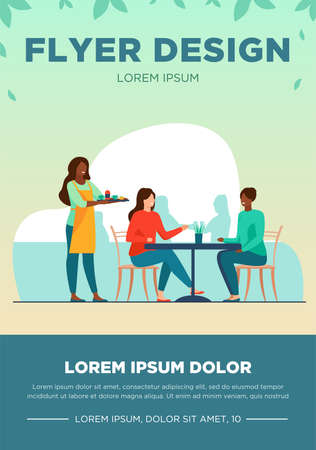 Two women sitting in cafe. Waiter, lunch, conversation flat vector illustration. Friendship and relationship concept for banner, website design or landing web page