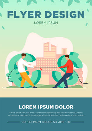 Dollar and euro competition. Currency characters playing tug-of-war, pulling rope flat vector illustration. Finance, money, currency rate concept for banner, website design or landing web page Illustration