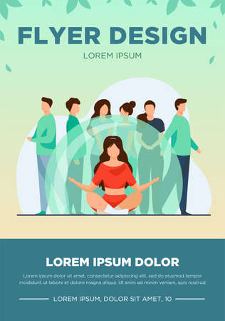 Woman sitting in lotus pose in transparent bulb. Group of people standing outside flat vector illustration. Isolation, social distance concept for banner, website design or landing web page