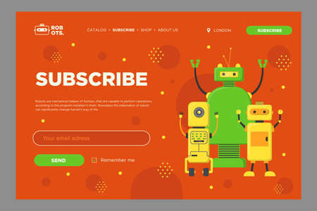 Online newsletter design with robots. Team of friendly welcoming humanoids vector illustration with subscribe button and box for email address. Robotics concept for subscription letter design Ilustración de vector