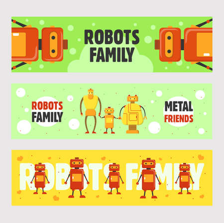 Robots family banners set. Humanoids, cyborgs, electronic machines vector illustrations with text on green and yellow backgrounds. Robotics concept for flyers and brochures design