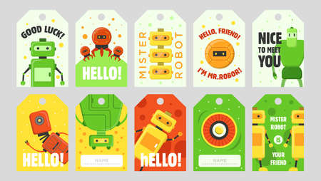 Robots tags set. Humanoids, cyborgs, assistants vector illustrations with text. Robotics concept for labels, welcome flyers, greeting cards design
