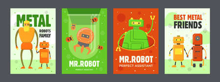 Robots posters set. Humanoids, cyborgs, electronic assistants vector illustrations with text. Robotics concept for flyers and brochures design
