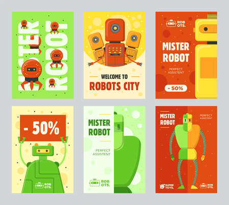 Robots retail flyers set. Humanoids, cyborgs, assistants vector illustrations with text and discount percentage. Robotics concept for sale posters and brochures design