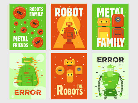 Robots flyers set. Humanoids, cyborgs, intelligent machines vector illustrations with text on green and red backgrounds. Robotics concept for posters and greeting cards design Иллюстрация