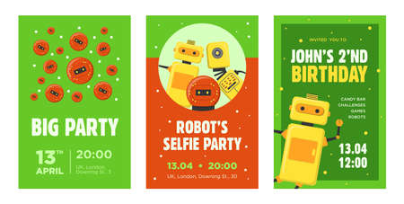 Party invitation cards set. Robots, humanoids, cyborgs, intelligent machines vector illustrations with text, time and date samples. Robotics concept for announcement posters and flyers design Иллюстрация