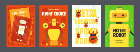 Robots colorful posters set. Humanoids, cyborgs, spiders vector illustrations with text on red, green, white background. Robotics concept for flyers and brochures design Иллюстрация