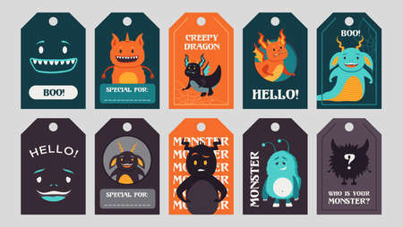 Trendy tags design with funny monsters. Bright creepy elements or creatures with greeting text and beasts. Celebration and Halloween concept. Template for greeting labels or invitation card Stock Illustratie