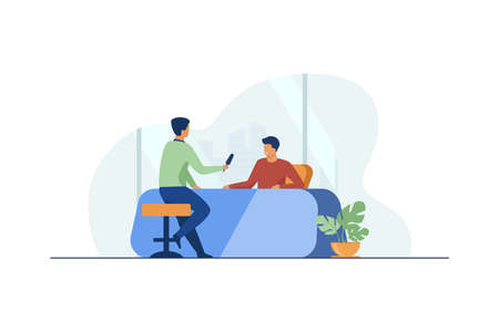 Journalist interviewing guy at desk. Microphone, discussion, speech flat vector illustration. Social media and communication concept for banner, website design or landing web page