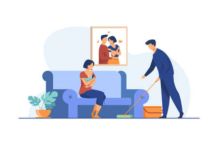 Loving man helping with house routine when woman feeding baby. Breast, family, newborn flat vector illustration. Motherhood and lactation concept for banner, website design or landing web page Illusztráció