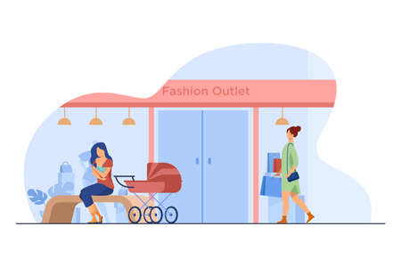 Mother feeding baby near fashion outlet. Store, pram, shopping flat vector illustration. Motherhood and lactation concept for banner, website design or landing web page Illusztráció