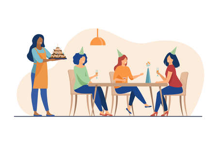 Happy women celebrating birthday and drinking alcohol. Friend, cake, glass flat vector illustration. Holiday and party concept for banner, website design or landing web page Çizim