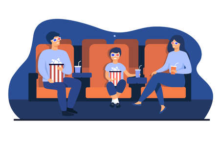 Father, mother and son in 3d glasses sitting in chairs, holding popcorn buckets and soda and watching funny movie in cinema theatre. Vector illustration for family leisure time, entertainment concept Çizim