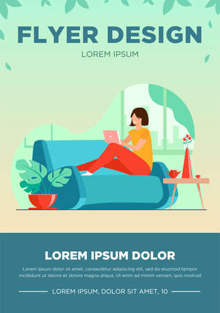 Young woman relaxing at sofa with laptop flat vector illustration. Lady sitting home and watching movie via computer. Digital technology and entertainment concept.