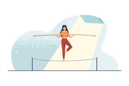 Show actress balancing on rope. Audience, acrobat, yogi flat vector illustration. Danger, risk, challenge concept for banner, website design or landing web page 矢量图像