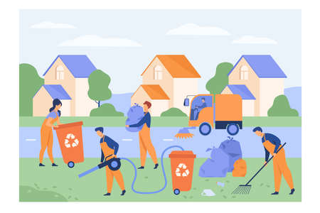 Cleaning workers picking up litter on suburban street, washing road, carrying bag with garbage to trash bin. Vector illustration for cleaner, janitor job, city service concept