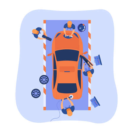 Automobile service team working on car, washing and polishing vehicle, changing wheels. Vector illustration for car maintenance, repairing crashed car, garage, mechanic service station concept