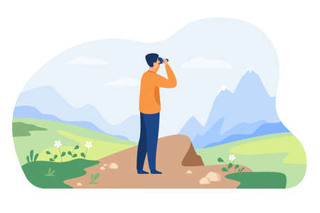 Man looking faraway through binoculars, admiring mature, exploring new goals and opportunities. Vector illustration for adventure, hiking, exploration, travel concept 向量圖像