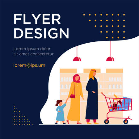 Muslim family buying food in supermarket. Arab cartoon characters wheeling shopping cart in grocery store. Vector illustration for retail, lifestyle, Arab people concept