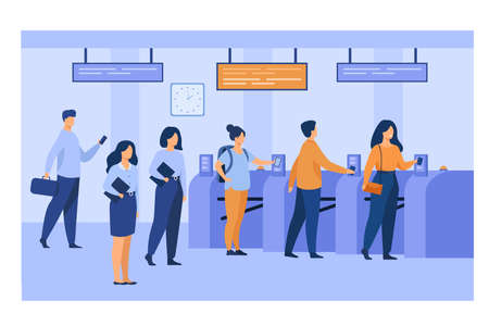 Metro passengers scanning electronic train tickets at entrance and turnstiles. Subway employees in uniforms keeping order. Vector illustration for public transport, automatic service concept Vektoros illusztráció