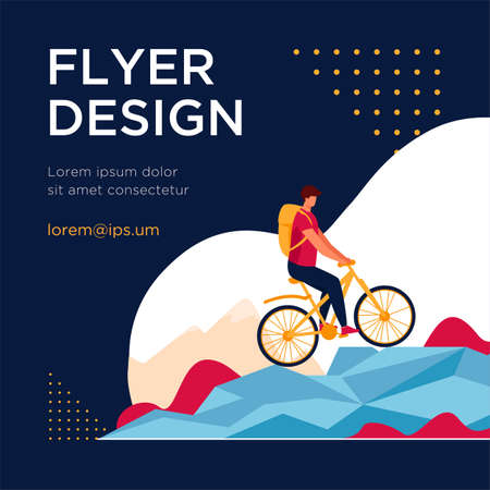 Man cycling on mountain bicycle. Tourist, nature, backpack flat vector illustration. Active lifestyle and extreme sport concept for banner, website design or landing web page