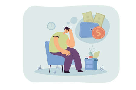 Sad unhappy person having money problem. Broke man feeling sad and depressed, staying home and thinking of unpaid loan. Vector illustration for bankrupt, financial crisis, depression concept