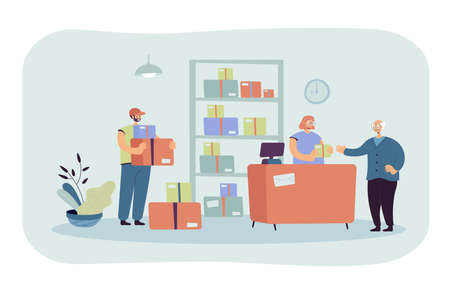Post office worker giving package to customer. Senior man receiving mail. Vector illustration for delivery service, postage, communication, shipment concept