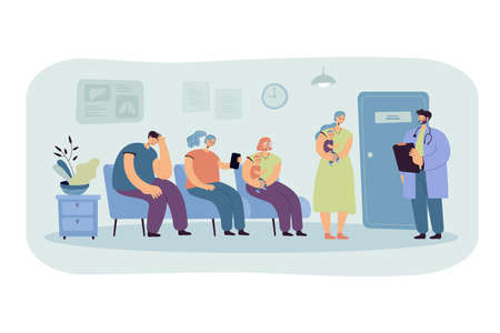 Group of patients waiting their turn at doctor office in clinic corridor. Moms with babies visiting therapist. Vector illustration for healthcare, medical service, visiting practitioner concept