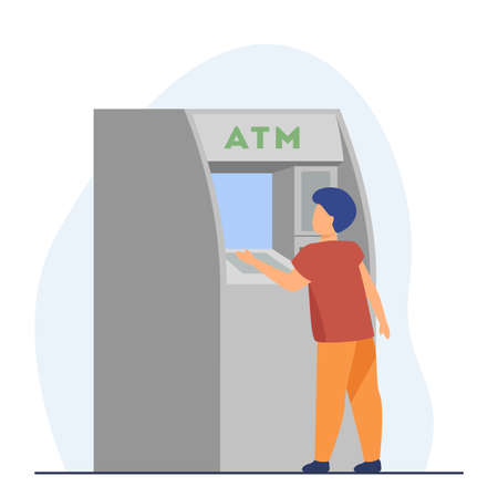 Little boy getting money from ATM. Cash, machine, banking flat vector illustration. Finance and digital technology concept for banner, website design or landing web page