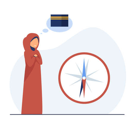 Arabian woman thinking about sailing. Compass, travel, arrow flat vector illustration. Adventure and freedom concept for banner, website design or landing web page