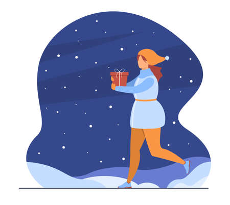 Happy woman carrying gift box on snowy street. Gift, winter, Christmas flat vector illustration. Celebration and holiday concept for banner, website design or landing web page