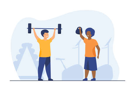 Lovely kids training in gym together. Dumbbell, child, health flat vector illustration. Fitness and sport activity concept for banner, website design or landing web page
