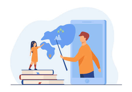 Teacher explaining geography to pupil from smartphone. Book, mountain, lesson flat vector illustration. Online education and digital technology concept for banner, website design or landing web page