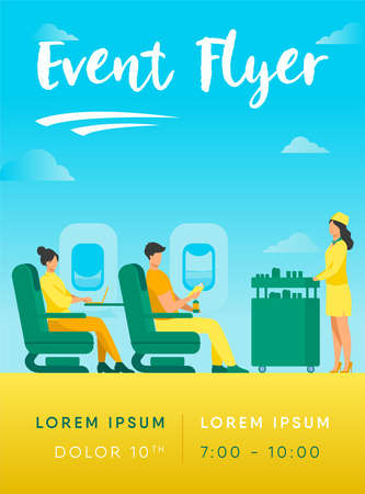 Air trip with comfort flat vector illustration. Passengers waiting for airline meal. People travelling by plane and sitting near airplane window. Airline, tourism and journey concept. Ilustrace