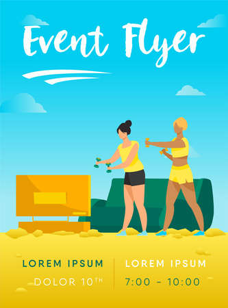 Active women doing video exercise together. Living room, aerobics, health flat vector illustration. Fitness and activity concept for banner, website design or landing web page Ilustracja