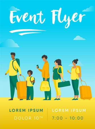 Group of tourist with luggage standing in line. Men, women, kid holding their bags and suitcases Vector illustration for trip, airport, travel, queue concept Ilustrace