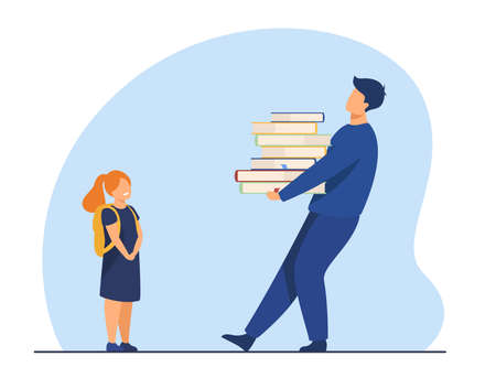 Teacher giving knowledge to student or pupil. Dad carrying heavy books to daughter. Flat vector illustration. Education, studying, learning concept for banner, website design or landing web page