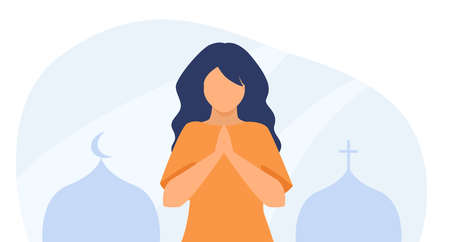 Woman praying between Orthodox church and mosque. Prayer, cross, crescent. Flat vector illustration. Multicultural country, religious freedom concept for banner, website design or landing web page
