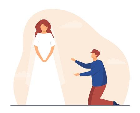 Man on his knees at girl wearing wedding dress. Bride, worship, tailor, groom. Flat vector illustration. Wedding party, relationship concept for banner, website design or landing web page