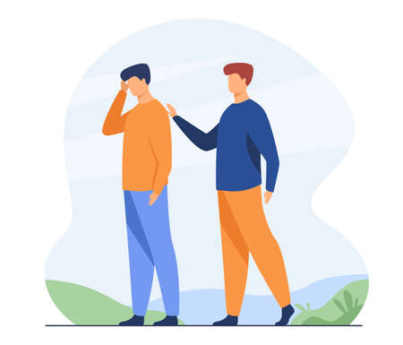 Man giving comfort to upset friend. Patting shoulder, support, friendship. Flat vector illustration. Empathy, help, compassion concept for banner, website design or landing web page Vetores