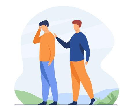 Man giving comfort to upset friend. Patting shoulder, support, friendship. Flat vector illustration. Empathy, help, compassion concept for banner, website design or landing web page Illustration