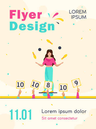 Girl balancing and juggling with balls and skittles. Judges rising signs with scores flat vector illustration. Talent show, performance concept for banner, website design or landing web page