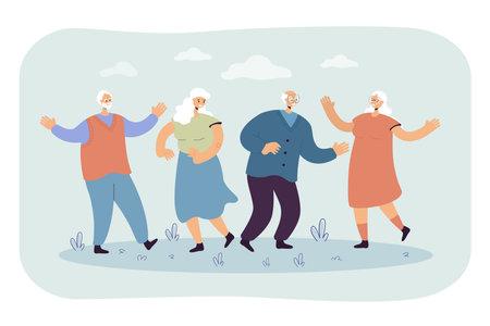 Happy senior people enjoying outdoor party. Group of mature friends celebrating event, having fun together. Vector illustration for retired age, hobby, joy, retirement, leisure concept Ilustração Vetorial