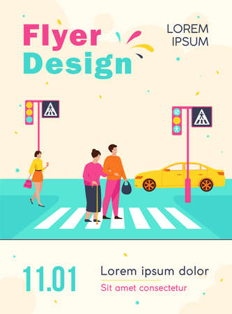 Young man helping old woman crossing road flat vector illustration. Cartoon elderly walking town crosswalk with help of guy. Urban lifestyle and cityscape concept Vector Illustration