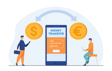 Mobile bank users transferring money. Currency conversion, tiny people, online payment. Flat vector illustration. Finance, banking, transaction concept for banner, website design or landing web page Vektoros illusztráció