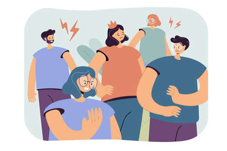 Arrogant selfish person in crown making group of people annoyed and angry. Lonely girl having behavior problems. Vector illustration for aggressive society, bad communication concept