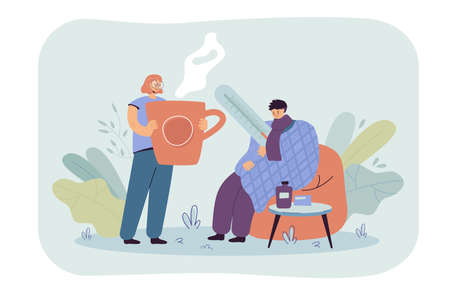 Man having cold and flu, wrapping himself in plaid, measuring body temperature. Girl taking care about sick boyfriend, giving hot drink to him Ilustracje wektorowe