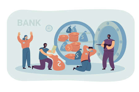 Banking thieves in masks threatening bank workers flat vector illustration. Cartoon robbers taking money from safe. Bank robbery and finance crime concept